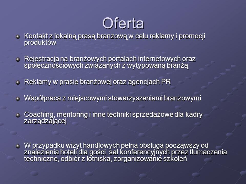 Oferta Kontakt z lokalną prasą branżową w celu reklamy i promocji produktów Rejestracja na branżowych portalach internetowych oraz społecznościowych z