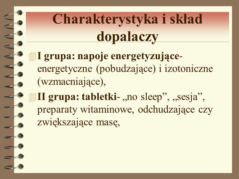 Charakterystyka i skład dopalaczy 4 I grupa: napoje energetyzujące- energetyczne (pobudzające) i izotoniczne (wzmacniające), 4 II grupa: tabletki- no
