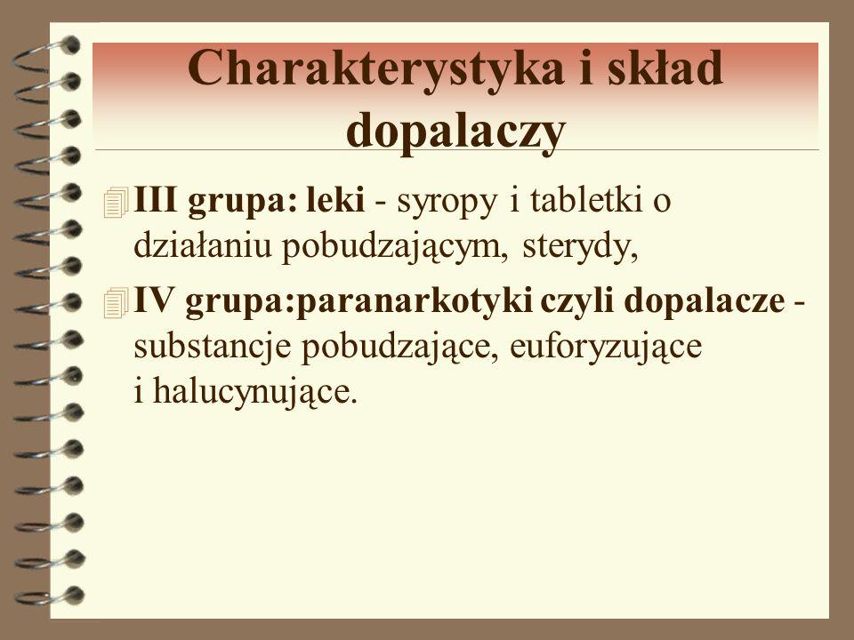 Charakterystyka i skład dopalaczy 4 III grupa: leki - syropy i tabletki o działaniu pobudzającym, sterydy, 4 IV grupa:paranarkotyki czyli dopalacze -