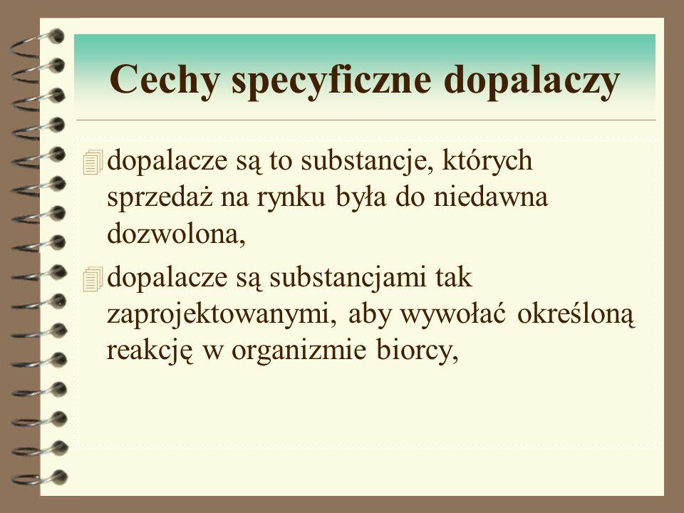 Cechy specyficzne dopalaczy 4 dopalacze są to substancje, których sprzedaż na rynku była do niedawna dozwolona, 4 dopalacze są substancjami tak zaproj