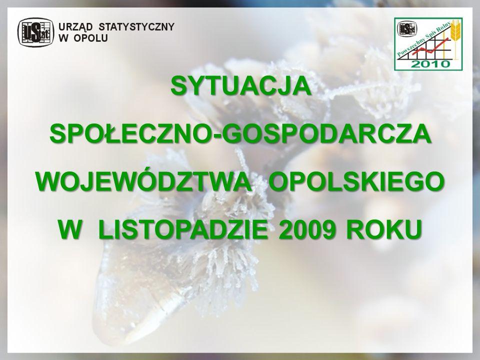SYTUACJA SPOŁECZNO-GOSPODARCZA WOJEWÓDZTWA OPOLSKIEGO W LISTOPADZIE 2009 ROKU