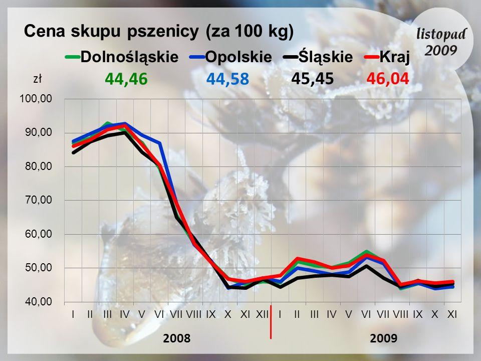 Cena skupu pszenicy (za 100 kg) 20092008