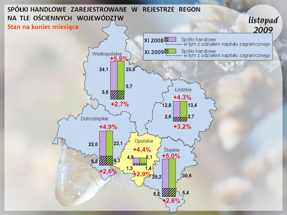 XI 2008 XI 2009 Łódzkie Wielkopolskie Dolnośląskie Opolskie Śląskie +5,9% +2,7% 24,1 5,6 25,6 5,7 +4,9% +2,6% 22,0 6,2 23,1 6,3 12,8 2,6 13,4 2,7 +4,3