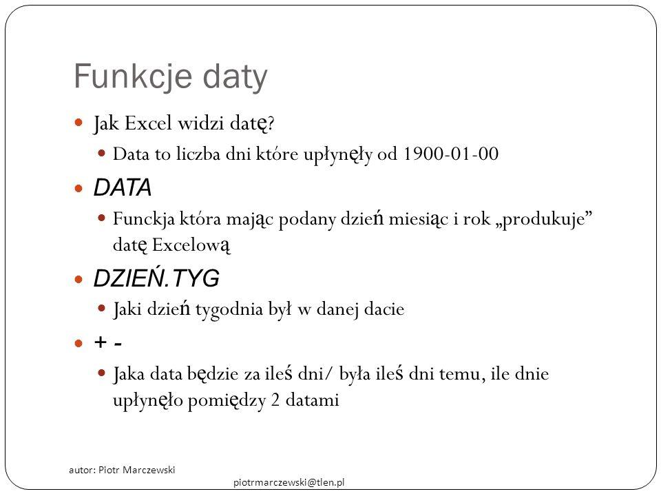 autor: Piotr Marczewski piotrmarczewski@tlen.pl Funkcje daty Jak Excel widzi dat ę ? Data to liczba dni które upłyn ę ły od 1900-01-00 DATA Funckja kt