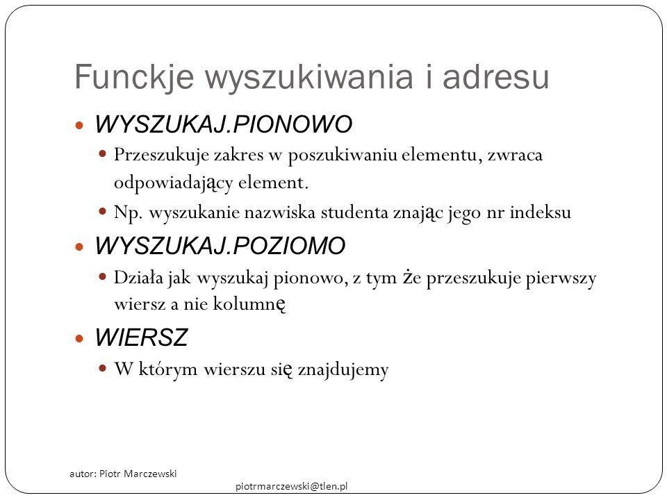 autor: Piotr Marczewski piotrmarczewski@tlen.pl Funckje wyszukiwania i adresu WYSZUKAJ.PIONOWO Przeszukuje zakres w poszukiwaniu elementu, zwraca odpo