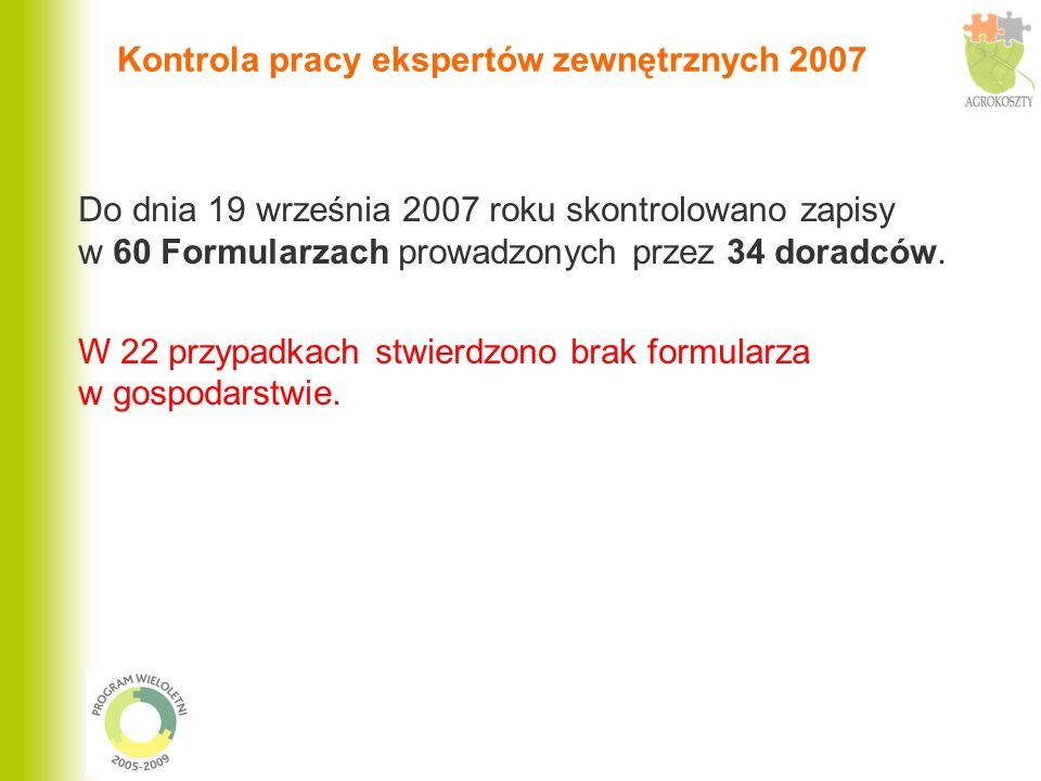 Kontrola pracy ekspertów zewnętrznych 2007 Do dnia 19 września 2007 roku skontrolowano zapisy w 60 Formularzach prowadzonych przez 34 doradców. W 22 p
