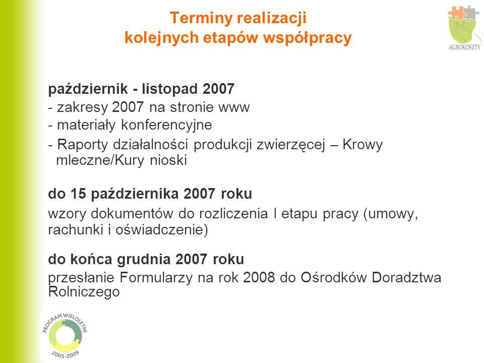 Terminy realizacji kolejnych etapów współpracy październik - listopad 2007 - zakresy 2007 na stronie www - materiały konferencyjne - Raporty działalno