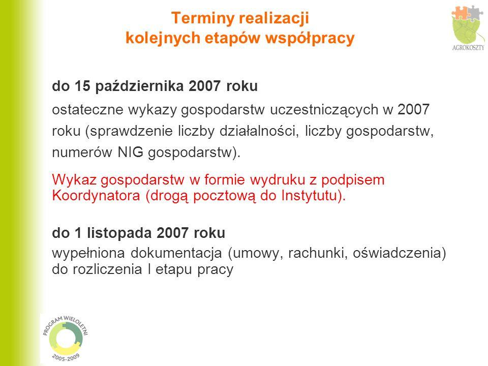 Terminy realizacji kolejnych etapów współpracy do 15 października 2007 roku ostateczne wykazy gospodarstw uczestniczących w 2007 roku (sprawdzenie lic