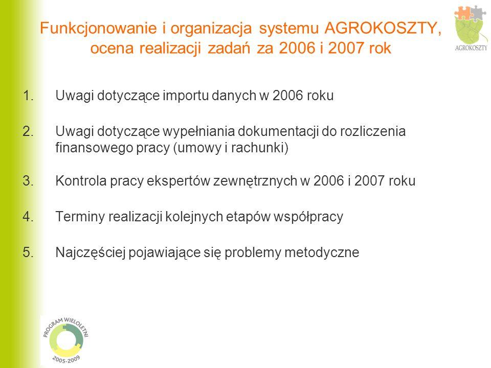 Funkcjonowanie i organizacja systemu AGROKOSZTY, ocena realizacji zadań za 2006 i 2007 rok 1.Uwagi dotyczące importu danych w 2006 roku 2.Uwagi dotycz