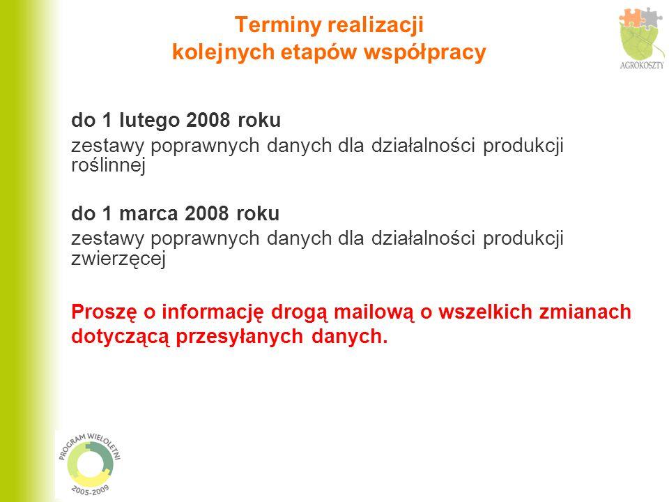 Terminy realizacji kolejnych etapów współpracy do 1 lutego 2008 roku zestawy poprawnych danych dla działalności produkcji roślinnej do 1 marca 2008 ro