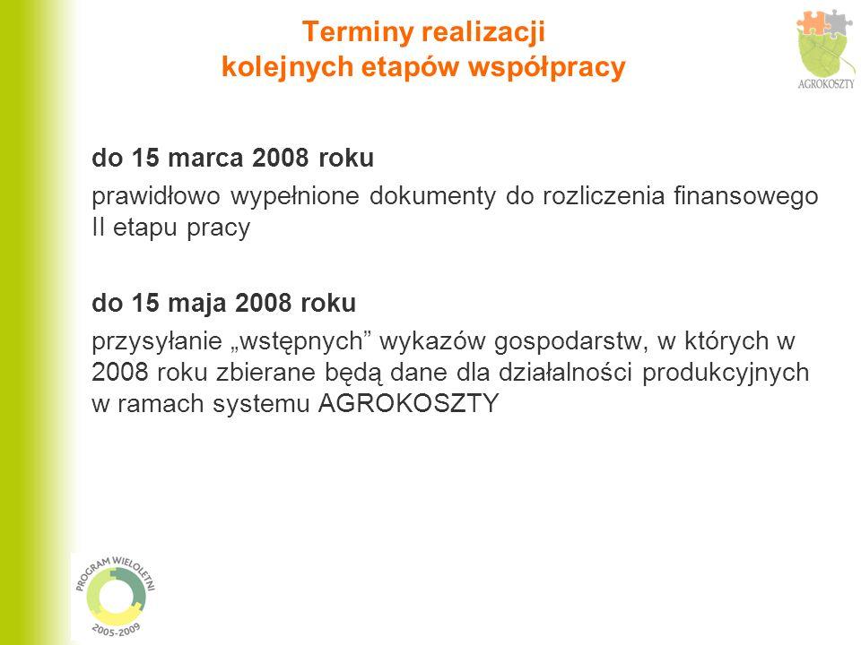 Terminy realizacji kolejnych etapów współpracy do 15 marca 2008 roku prawidłowo wypełnione dokumenty do rozliczenia finansowego II etapu pracy do 15 m