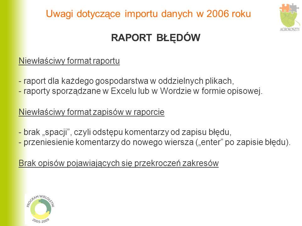 Przykład opisu błędów: Raport z kontroli etapu II z dnia dd.mm.rrrr Gospodarstwo nnnnnnnn / rrrr / xxxx PRTW/61-12-10 BLAD 6: 0 zˆ/dt < 2 brak sprzedaży, produkcja na potrzeby własne PRTW/61-12-10 BLAD 7: 0 zˆ/dt < 2 brak sprzedaży, produkcja na potrzeby własne Raport z kontroli etapu II z dnia dd.mm.rrrr Gospodarstwo nnnnnnnn / rrrr / xxxx PRTW/61-12-10 BLAD 6: 0 zˆ/dt < 2 nie dotyczy PRTW/61-12-10 BLAD 7: 0 zˆ/dt < 2 nie dotyczy Uwagi dotyczące importu danych w 2006 roku
