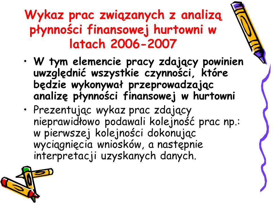 Wykaz prac związanych z analizą płynności finansowej hurtowni w latach 2006-2007 W tym elemencie pracy zdający powinien uwzględnić wszystkie czynności