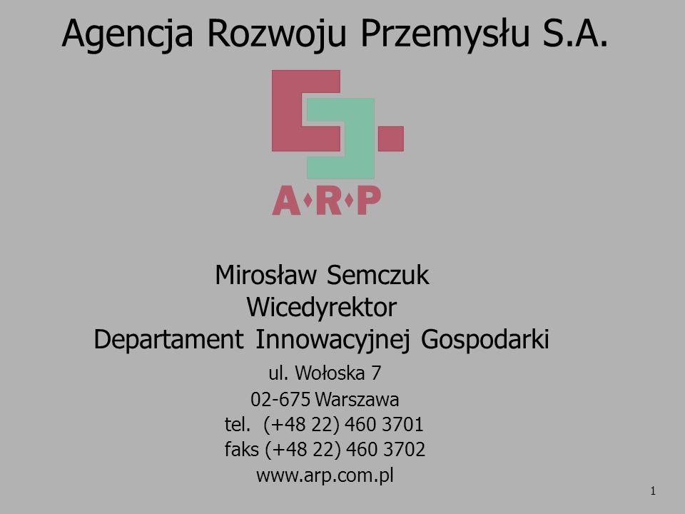 1 Agencja Rozwoju Przemysłu S.A. ul. Wołoska 7 02-675 Warszawa tel. (+48 22) 460 3701 faks (+48 22) 460 3702 www.arp.com.pl Mirosław Semczuk Wicedyrek