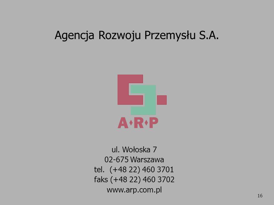 16 Agencja Rozwoju Przemysłu S.A. ul. Wołoska 7 02-675 Warszawa tel. (+48 22) 460 3701 faks (+48 22) 460 3702 www.arp.com.pl