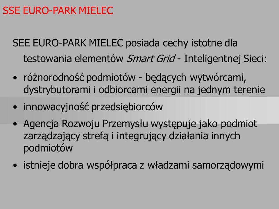 SEE EURO-PARK MIELEC posiada cechy istotne dla testowania elementów Smart Grid - Inteligentnej Sieci: różnorodność podmiotów - będących wytwórcami, dy