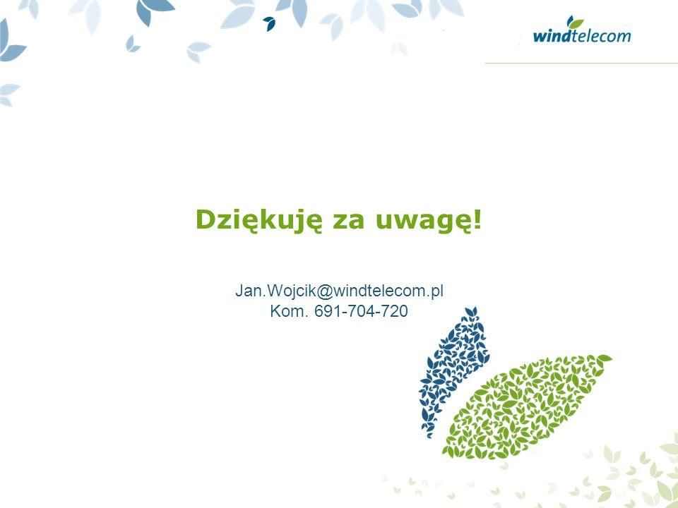 Dziękuję za uwagę! Jan.Wojcik@windtelecom.pl Kom. 691-704-720