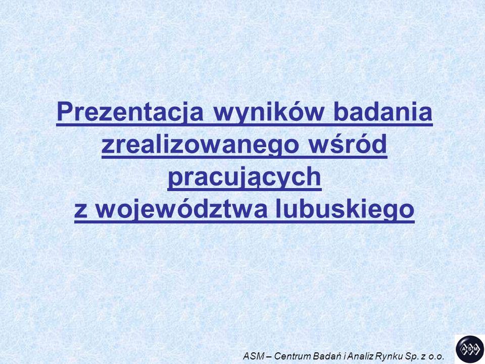Prezentacja wyników badania zrealizowanego wśród pracujących z województwa lubuskiego ASM – Centrum Badań i Analiz Rynku Sp. z o.o.