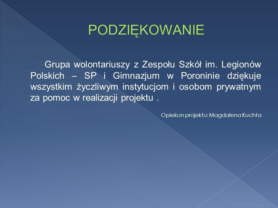 Grupa wolontariuszy z Zespołu Szkół im. Legionów Polskich – SP i Gimnazjum w Poroninie dziękuje wszystkim życzliwym instytucjom i osobom prywatnym za