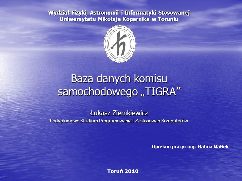 Wydział Fizyki, Astronomii i Informatyki Stosowanej Uniwersytetu Mikołaja Kopernika w Toruniu Baza danych komisu samochodowego TIGRA Łukasz Ziemkiewic