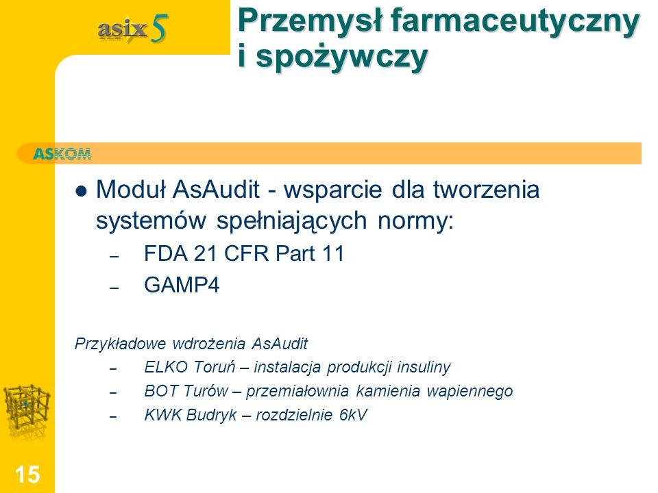 15 Przemysł farmaceutyczny i spożywczy Moduł AsAudit - wsparcie dla tworzenia systemów spełniających normy: – FDA 21 CFR Part 11 – GAMP4 Przykładowe w