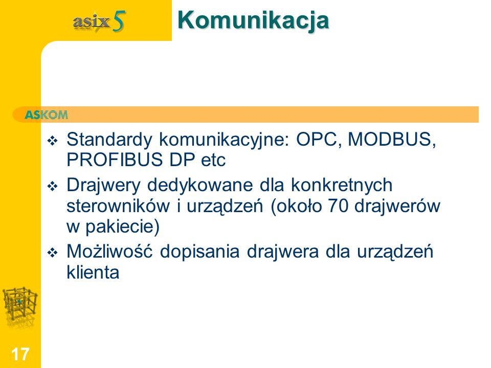 17Komunikacja Standardy komunikacyjne: OPC, MODBUS, PROFIBUS DP etc Drajwery dedykowane dla konkretnych sterowników i urządzeń (około 70 drajwerów w p