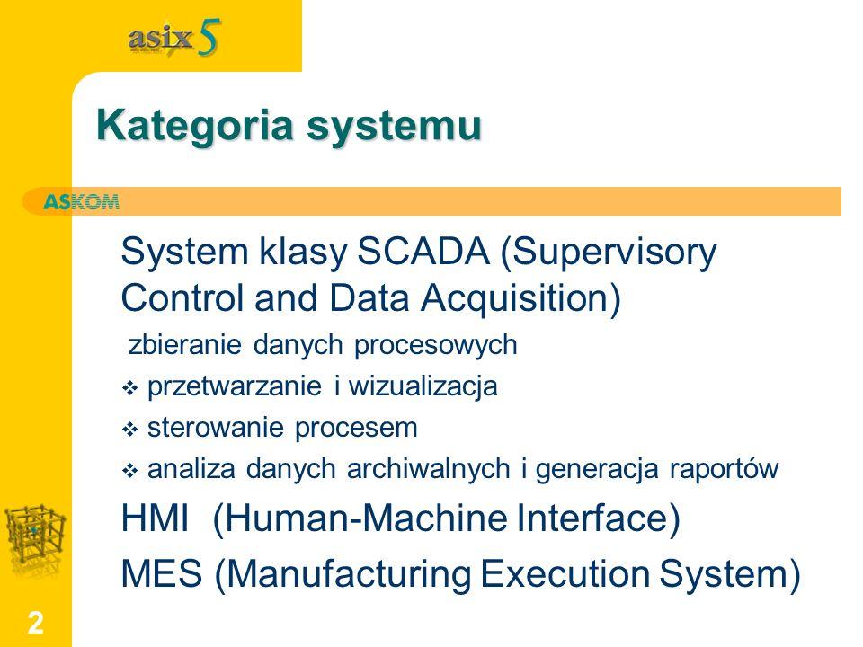 2 Kategoria systemu System klasy SCADA (Supervisory Control and Data Acquisition) zbieranie danych procesowych przetwarzanie i wizualizacja sterowanie