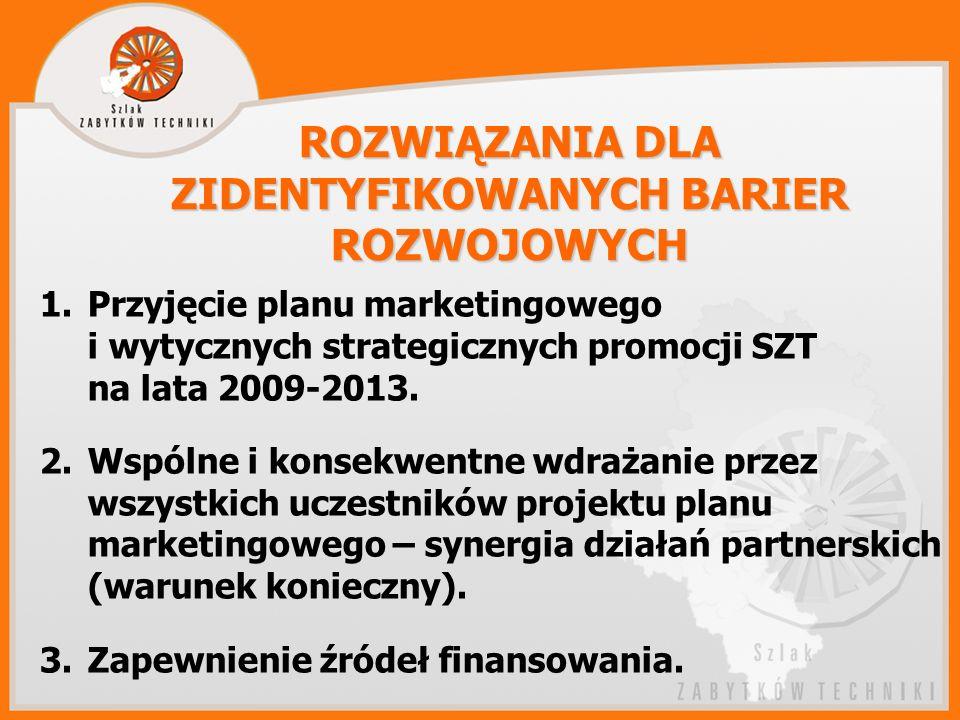 1.Przyjęcie planu marketingowego i wytycznych strategicznych promocji SZT na lata 2009-2013.
