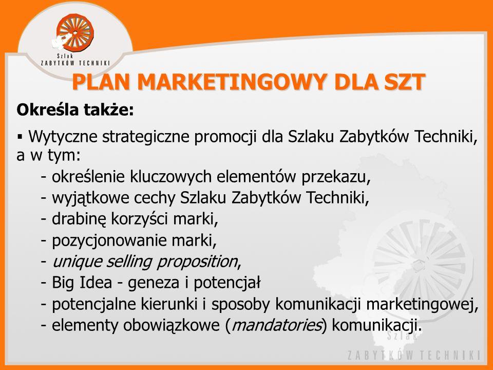 PLAN MARKETINGOWY DLA SZT Określa także: Wytyczne strategiczne promocji dla Szlaku Zabytków Techniki, a w tym: - określenie kluczowych elementów przekazu, - wyjątkowe cechy Szlaku Zabytków Techniki, - drabinę korzyści marki, - pozycjonowanie marki, - unique selling proposition, - Big Idea - geneza i potencjał - potencjalne kierunki i sposoby komunikacji marketingowej, - elementy obowiązkowe (mandatories) komunikacji.