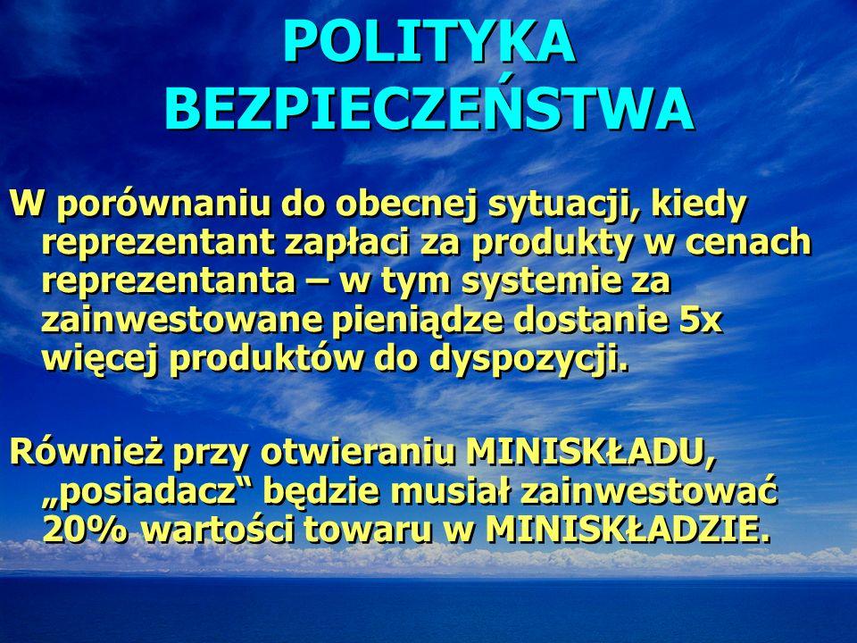 POLITYKA BEZPIECZEŃSTWA W porównaniu do obecnej sytuacji, kiedy reprezentant zapłaci za produkty w cenach reprezentanta – w tym systemie za zainwestow