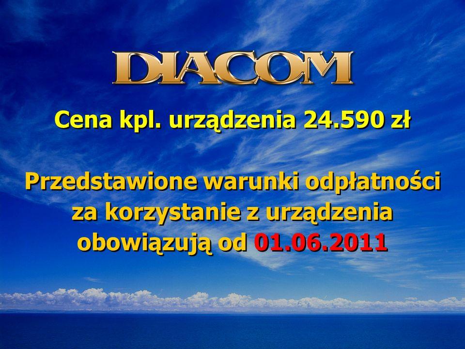 Cena kpl. urządzenia 24.590 zł Przedstawione warunki odpłatności za korzystanie z urządzenia obowiązują od 01.06.2011 Cena kpl. urządzenia 24.590 zł P