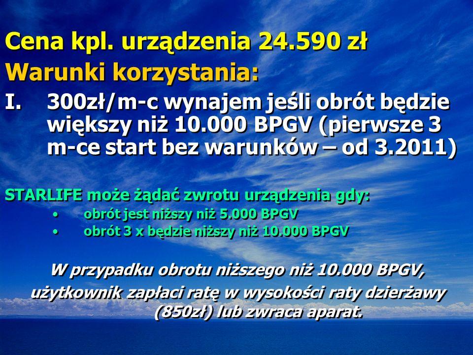 Cena kpl. urządzenia 24.590 zł Warunki korzystania: I.300zł/m-c wynajem jeśli obrót będzie większy niż 10.000 BPGV (pierwsze 3 m-ce start bez warunków