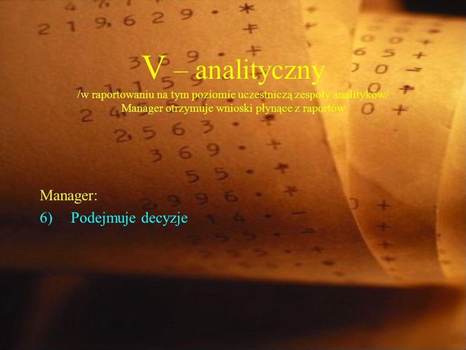 V – analityczny /w raportowaniu na tym poziomie uczestniczą zespoły analityków/ Manager otrzymuje wnioski płynące z raportów Manager: 6)Podejmuje decyzje