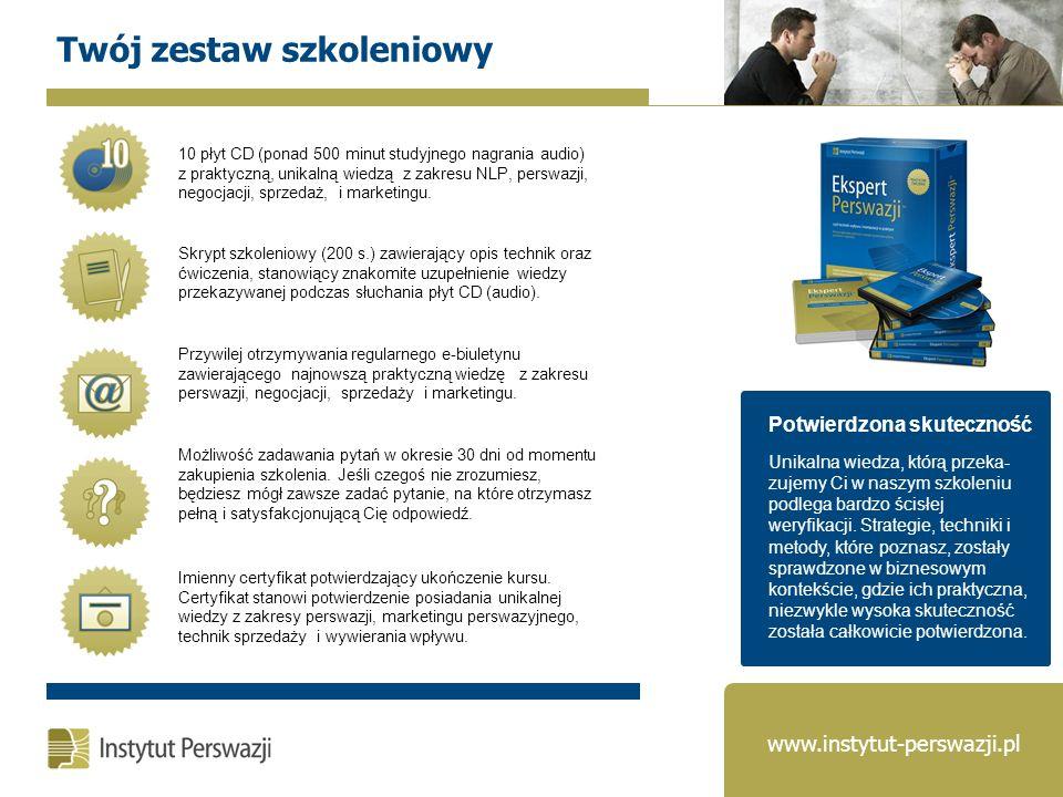 Otrzymasz imienny certyfikat, będący potwierdzeniem Twoich kompetencji w dziedzinie perswazji, sprzedaży i marketingu perswazyjnego.