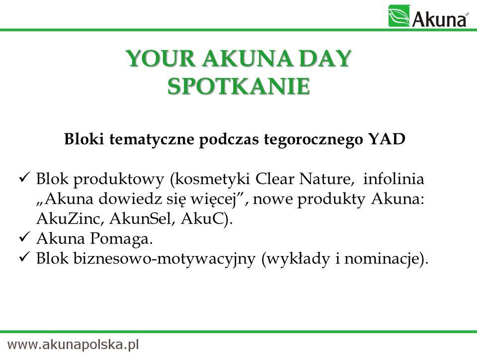 YOUR AKUNA DAY SPOTKANIE Bloki tematyczne podczas tegorocznego YAD Blok produktowy (kosmetyki Clear Nature, infolinia Akuna dowiedz się więcej, nowe produkty Akuna: AkuZinc, AkunSel, AkuC).
