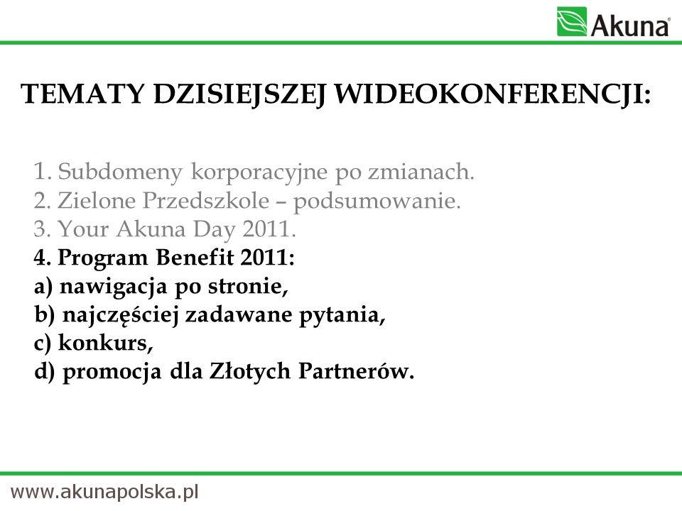 TEMATY DZISIEJSZEJ WIDEOKONFERENCJI: 1. Subdomeny korporacyjne po zmianach.