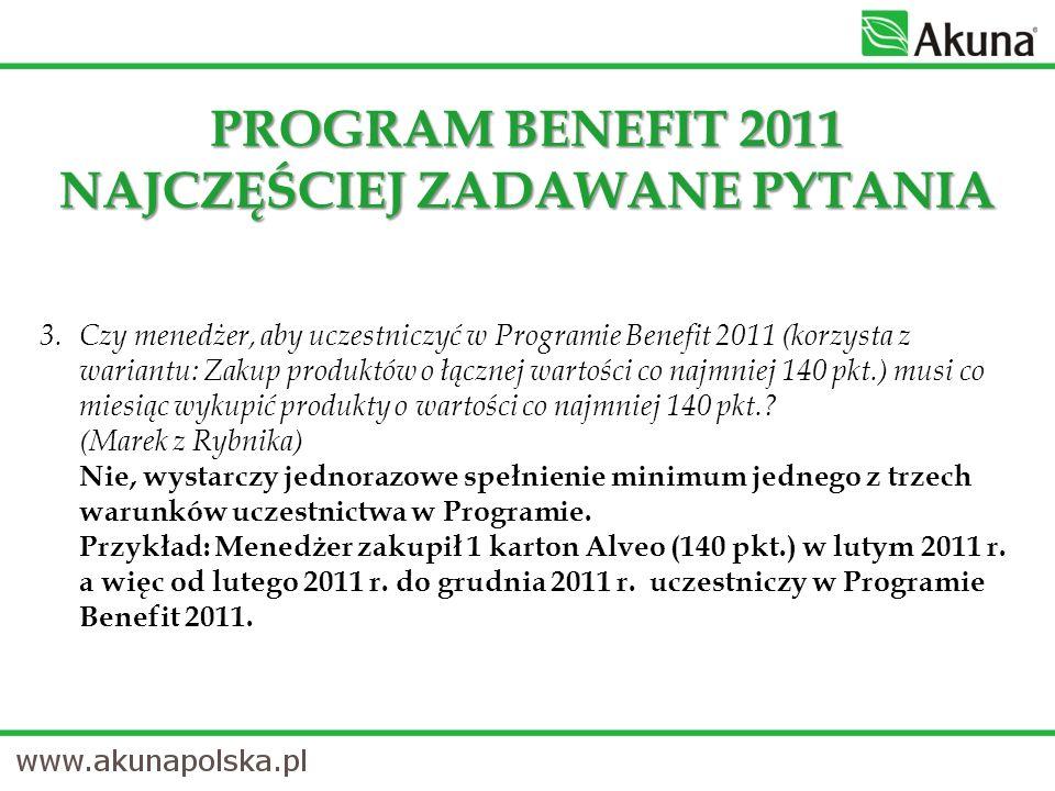 3.Czy menedżer, aby uczestniczyć w Programie Benefit 2011 (korzysta z wariantu: Zakup produktów o łącznej wartości co najmniej 140 pkt.) musi co miesiąc wykupić produkty o wartości co najmniej 140 pkt..