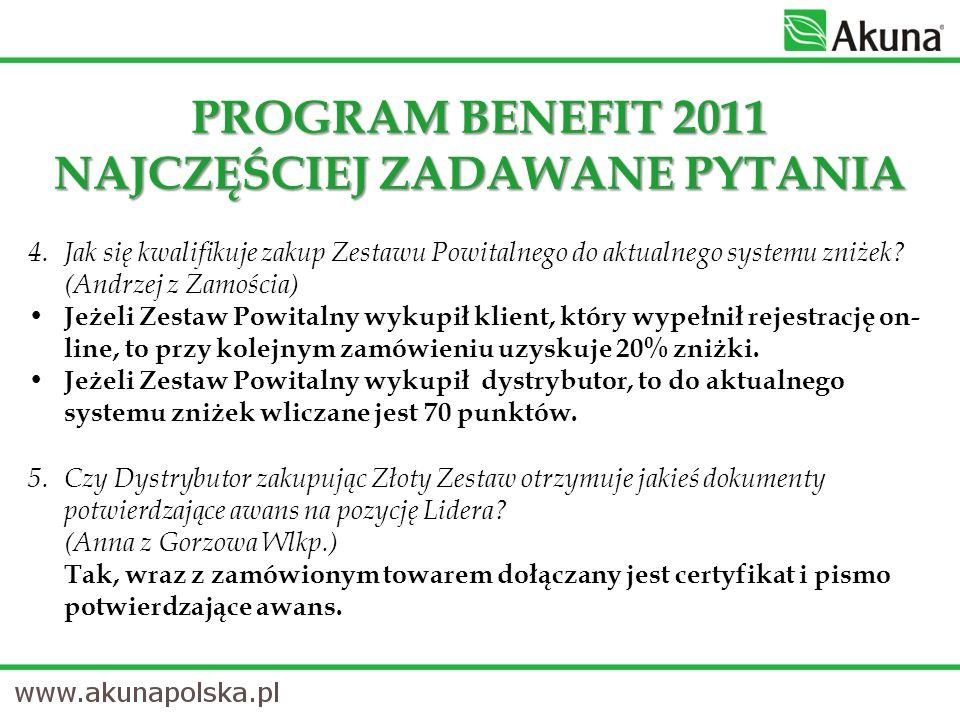 PROGRAM BENEFIT 2011 NAJCZĘŚCIEJ ZADAWANE PYTANIA 4.
