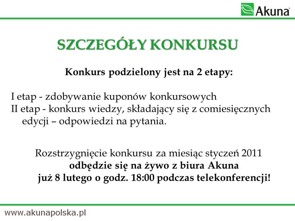 Konkurs podzielony jest na 2 etapy: I etap - zdobywanie kuponów konkursowych II etap - konkurs wiedzy, składający się z comiesięcznych edycji – odpowiedzi na pytania.