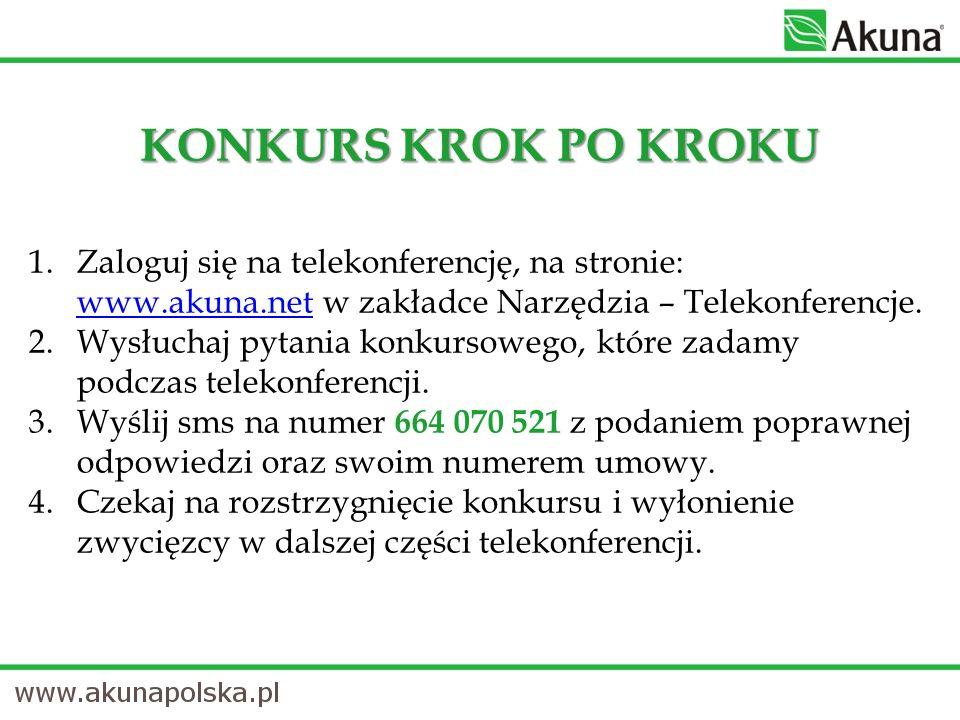1.Zaloguj się na telekonferencję, na stronie: www.akuna.net w zakładce Narzędzia – Telekonferencje.