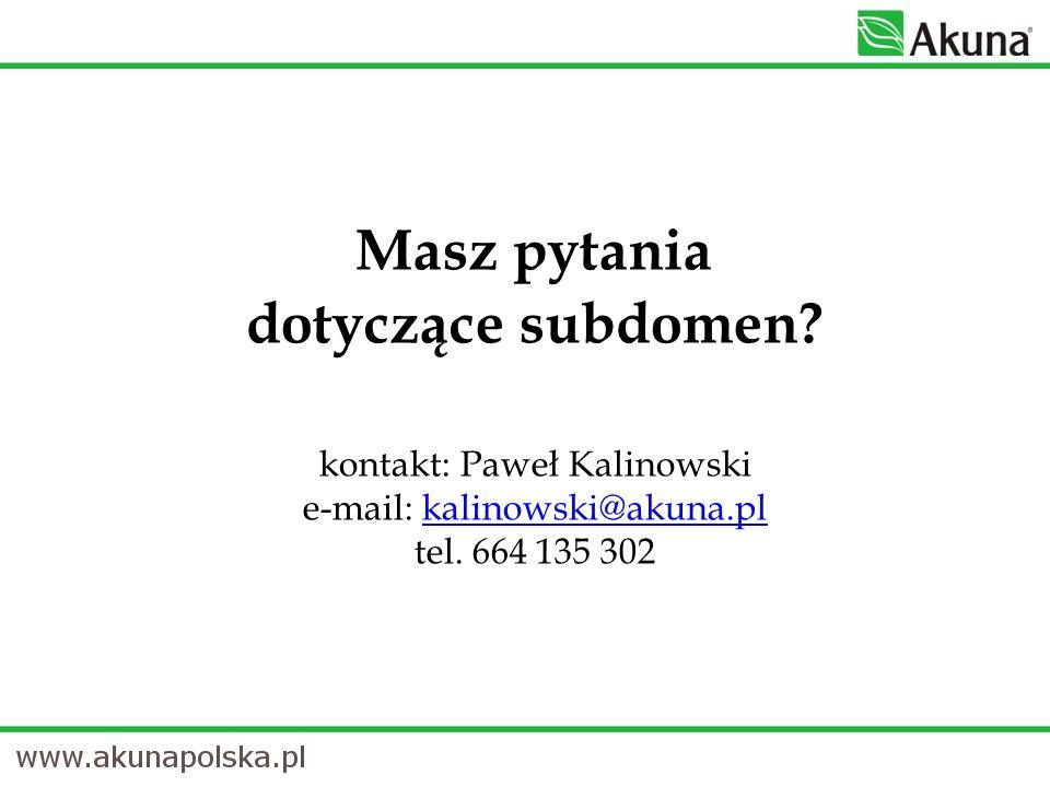 Masz pytania dotyczące subdomen. kontakt: Paweł Kalinowski e-mail: kalinowski@akuna.pl tel.