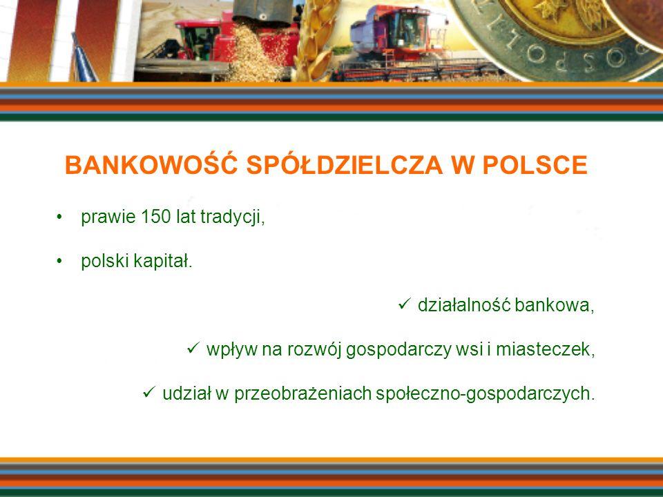 BANKOWOŚĆ SPÓŁDZIELCZA W POLSCE prawie 150 lat tradycji, polski kapitał. działalność bankowa, wpływ na rozwój gospodarczy wsi i miasteczek, udział w p