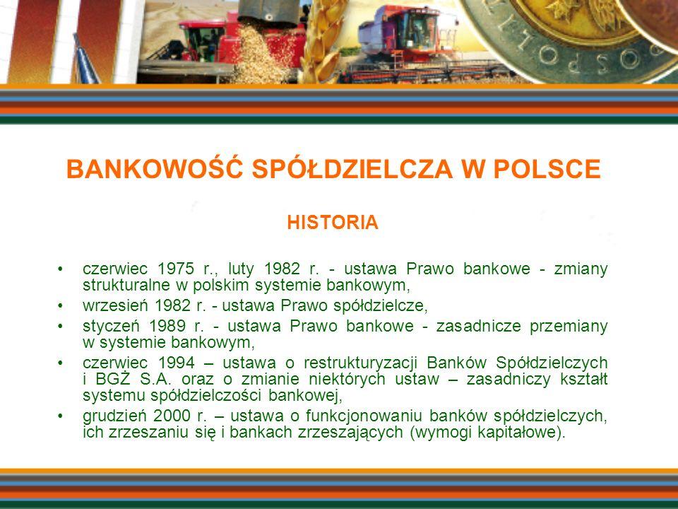 HISTORIA czerwiec 1975 r., luty 1982 r. - ustawa Prawo bankowe - zmiany strukturalne w polskim systemie bankowym, wrzesień 1982 r. - ustawa Prawo spół