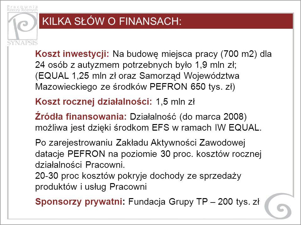 KILKA SŁÓW O FINANSACH: Koszt inwestycji: Na budowę miejsca pracy (700 m2) dla 24 osób z autyzmem potrzebnych było 1,9 mln zł; (EQUAL 1,25 mln zł oraz Samorząd Województwa Mazowieckiego ze środków PEFRON 650 tys.