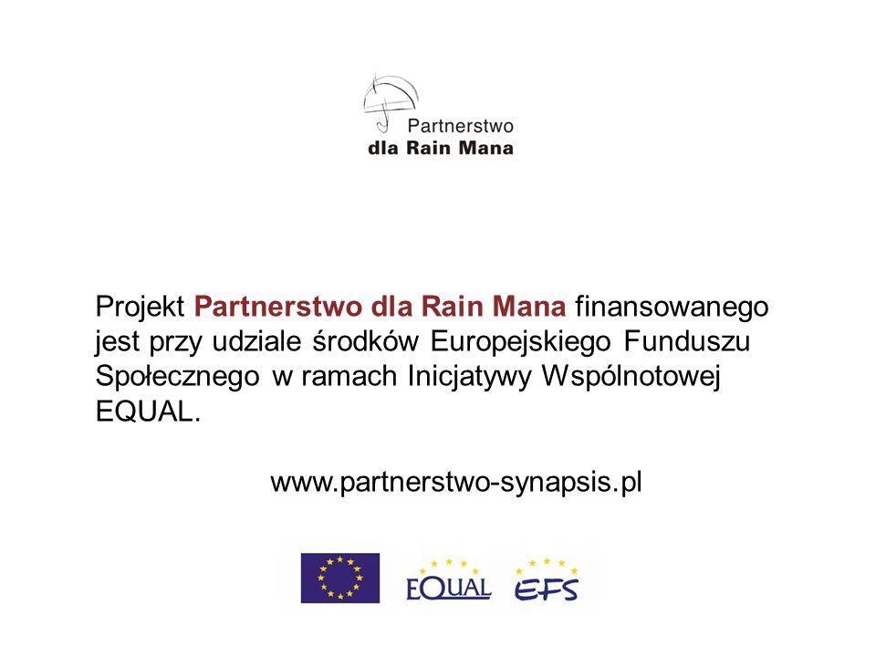 Projekt Partnerstwo dla Rain Mana finansowanego jest przy udziale środków Europejskiego Funduszu Społecznego w ramach Inicjatywy Wspólnotowej EQUAL.