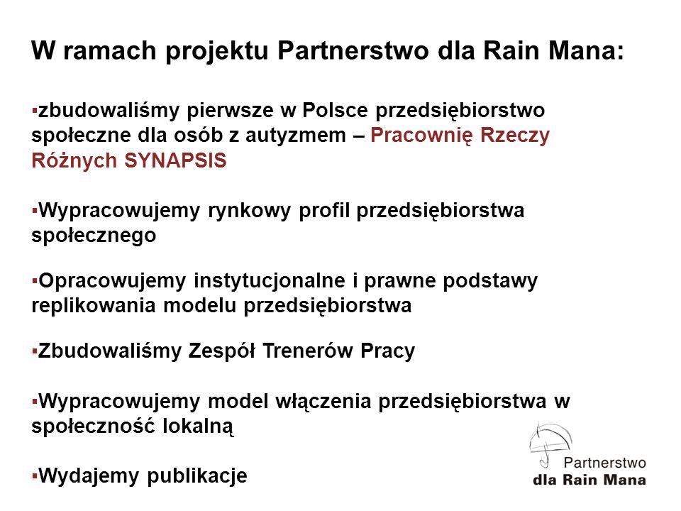 W ramach projektu Partnerstwo dla Rain Mana: zbudowaliśmy pierwsze w Polsce przedsiębiorstwo społeczne dla osób z autyzmem – Pracownię Rzeczy Różnych SYNAPSIS Wypracowujemy rynkowy profil przedsiębiorstwa społecznego Opracowujemy instytucjonalne i prawne podstawy replikowania modelu przedsiębiorstwa Zbudowaliśmy Zespół Trenerów Pracy Wypracowujemy model włączenia przedsiębiorstwa w społeczność lokalną Wydajemy publikacje