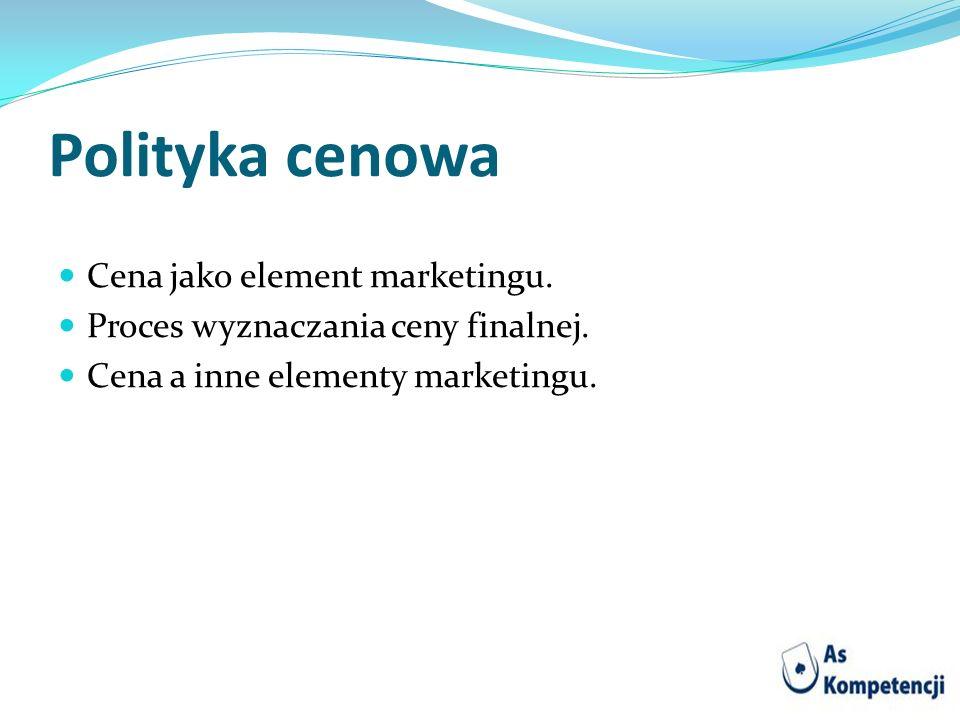 Polityka cenowa Cena jako element marketingu. Proces wyznaczania ceny finalnej. Cena a inne elementy marketingu.