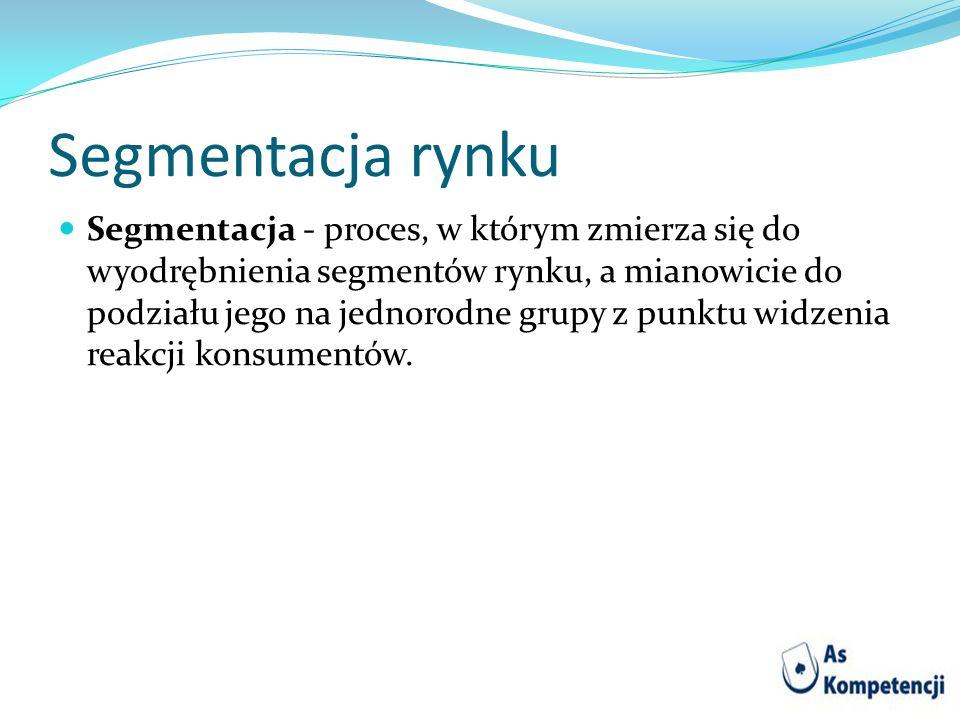 Segmentacja rynku Segmentacja - proces, w którym zmierza się do wyodrębnienia segmentów rynku, a mianowicie do podziału jego na jednorodne grupy z pun