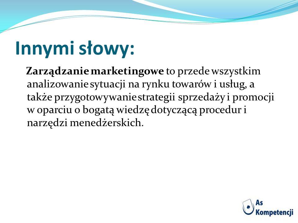Innymi słowy: Zarządzanie marketingowe to przede wszystkim analizowanie sytuacji na rynku towarów i usług, a także przygotowywanie strategii sprzedaży