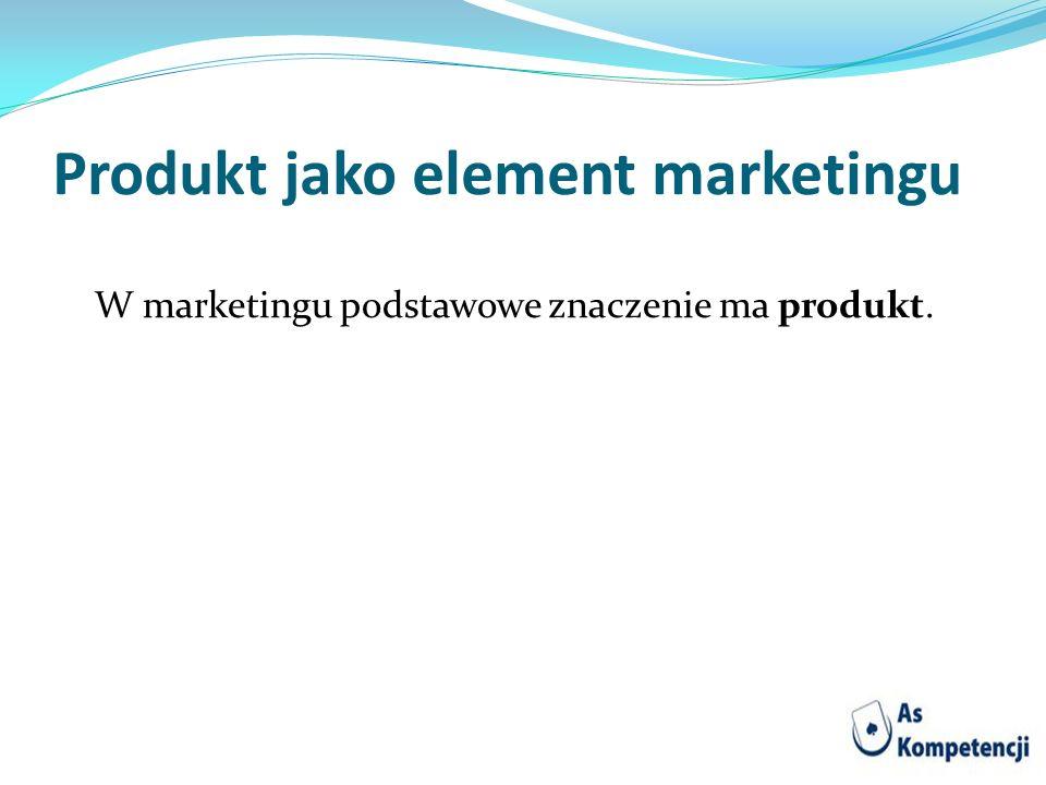 Produkt jako element marketingu W marketingu podstawowe znaczenie ma produkt.